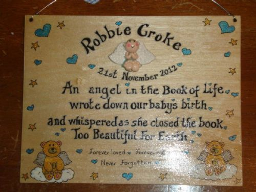 Angel Baby Memorial Wooden Sign Handmade Unique Item Personalised Plaque Too Beautiful For Earth large